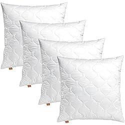 sleepling 191174 Lot de 4 Coussins de canapé en Microfibre 50 x 50 cm, Blanc
