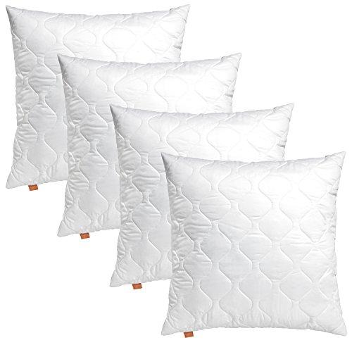 4er Set sleepling 191175 Komfort 100 Kopfkissen Mikrofaser Sofakissen 40 x 40 cm, weiß