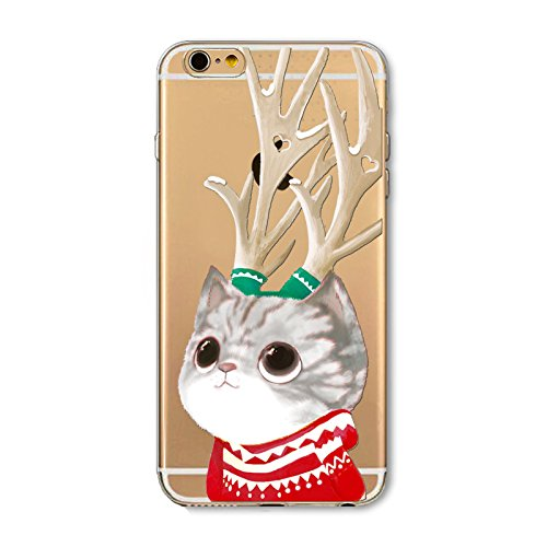 iPhone 6 Plus / iPhone 6s Plus Hülle, FindaGift Weihnachten Serie Ultra dünn Stoßfest Weiches TPU Telefon zurück Kasten Deckung Schutz Shockproof Case per iPhone 6 Plus / iPhone 6s Plus (Happy Holiday Cat with Antlers