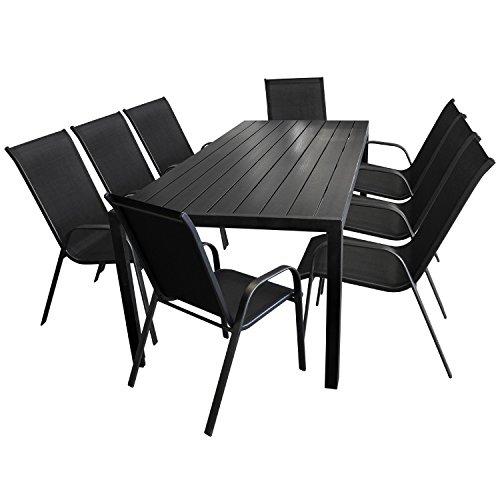 9tlg. Gartengarnitur Gartentisch, Aluminium, Polywood Tischplatte schwarz, 205x90cm + 8x Stapelstuhl, Textilenbespannung schwarz / Gartenmöbel Terrassenmöbel Sitzgarnitur Sitzgruppe