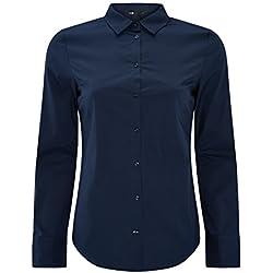 oodji Ultra Mujer Camisa Básica de Algodón, Azul, ES 42/L