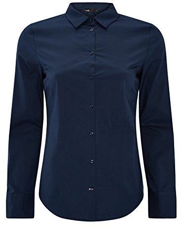 oodji Ultra Damen Baumwoll-Hemd Basic, Blau, DE 38/EU 40/M