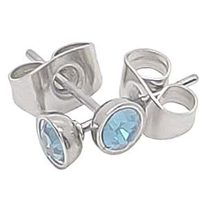 Boucles d'oreilles à tige en pierre de naissance Aqua (mars) Oxyde de zirconium en acier chirurgical