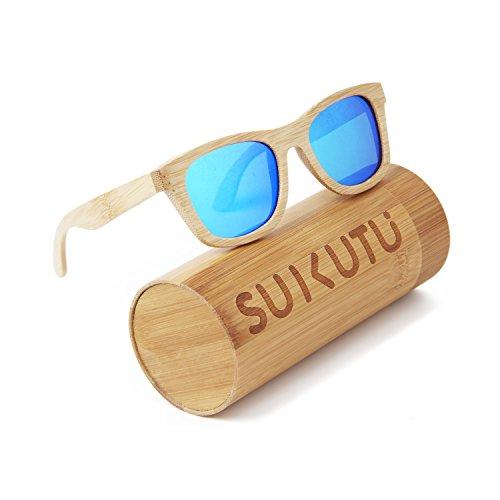SUKUTU Bambus leichte Holz ganze Rahmen Sonnenbrillen polarisierte Gläser Mens Womens Eyewear schwimmende Stil Brille (Blau)