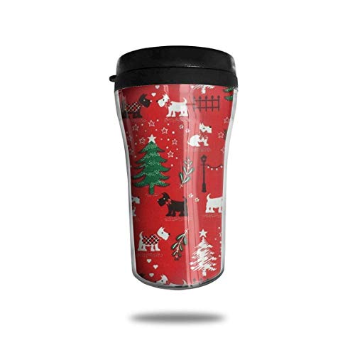 Xukmefat Red Christmas Scottie Dog Travel Coffee Mug Delicate Printing Tragbarer Saugnapf, Nahrungsmittelgrad-ABS-Isolierschale (8,8 Unzen)