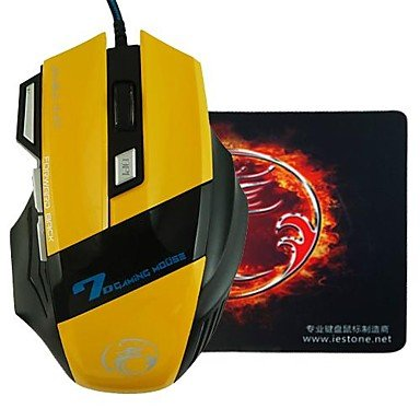 e-stone X7Design LED-Licht Wired Gaming 2000DPI USB-Maus + Maus Pad, schwarz -