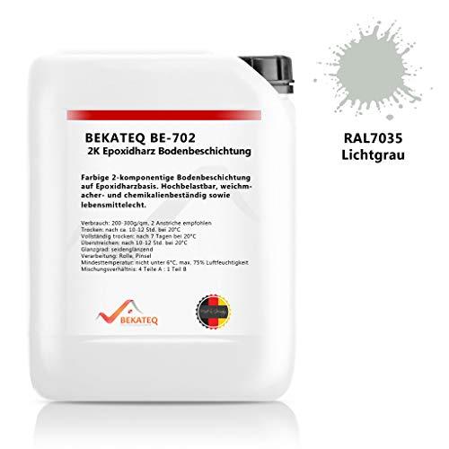 BEKATEQ BE-702 2K Epoxidharz Bodenbeschichtung, RAL7035 Lichtgrau 1kg, Bodenfarbe, Betonfarbe