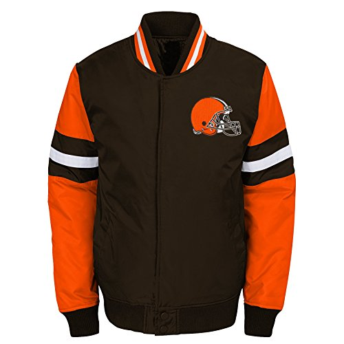 NFL Cleveland Browns Youth Boys Legendary Color Blocked Varsity Jacket Brown Suede, Youth X-Large(18) Suede Varsity Jacket