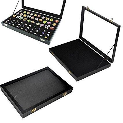 Amzdeal Caja para anillos Caja de exposición Bandeja para 100 anillos