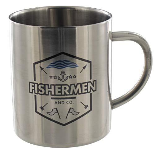 Edelstahlbecher Fishermen, für perfekte Isolierung, 0,4 l, beidseitig Bedruckt als Geschenk für Angler, Fischer, Wanderer, Bergsteiger und Camper
