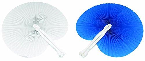100 pezzi ventaglio 50 ventagli Blu 50 ventagli Bianchi (24cm -26 cm) ideale come gadgets, bomboniera per matrimoni,comunioni,cresime eventi,feste