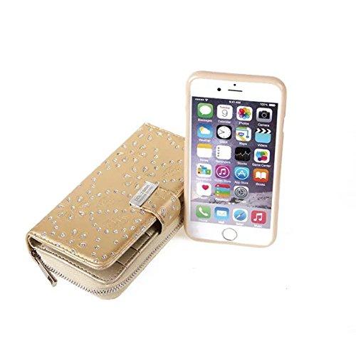 Große Kapazitäts-Ahorn-Blumen-PU-lederner Kasten mit freistehender rückseitiger Abdeckung für iPhone 6 Plus u. 6s Plus ( Color : Rose ) Gold
