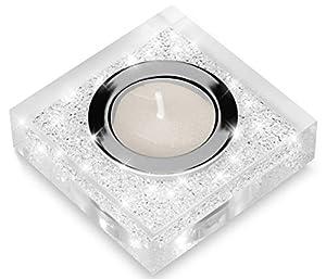 Edler Teelichthalter Lotus 1 mit SWAROVSKI ELEMENTS Kristallen / Funkelnde Tischdeko / Moderne Dekoration (1 Stück, Transparent)