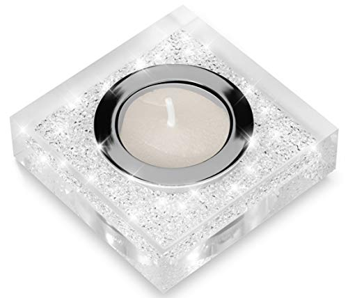 Elegante portacandele lotus 1 con cristalli swarovski elements – una luminosa decorazione da tavolo (trasparente)