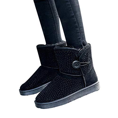 TianWlio Boots Stiefel Schuhe Stiefeletten Frauen Herbst Winter Feste Kristall Bling Winter Warme Flache Schneeschuhe Runde Zehe im Freien Schuhe Weihnachten Schwarz 38