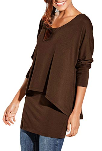 Uniquestyle 2 in 1 Optik Langarmshirt Damen Langarm Longshirt Casual Rundhals Tunika Top Shirt (Schokobraun, S)