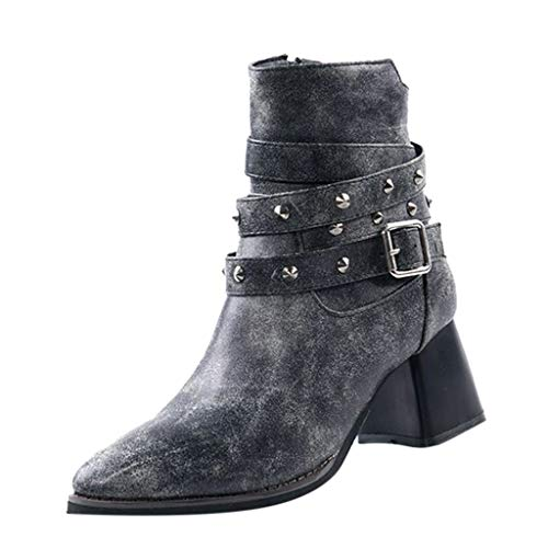 Qinmm Frauen Stiefeletten Platz Ferse, Frauen warme Dicke Ferse Stiefel niet Mode Zip Freizeit Stiefel -