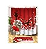Amody Duschvorhang mit Perlenvorhang Ringe Weihnachten Weihnachtsmann und Schneemann wasserdicht Bad (Teppich Nicht enthalten) Größe 165X180CM Stil 10