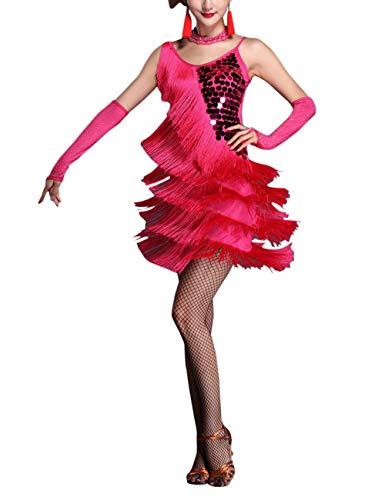 besbomig Erwachsene Sexy Abendkleider Quaste Pailletten Salsa Tango Latein Kleid - Damen Ballroom Partykleider (Party-kleider Sexy)