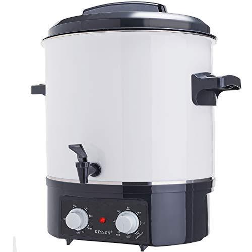 KESSER Einkochautomat 27 Liter mit Timer | 1800 Watt | Temperatur von 30-100°C | Zeituhr bis 120 Minuten,Dauerbetrieb | Abschaltautomatik Einkochvollautomat, Heißgetränkeautomat, Glühweintopf Weiß