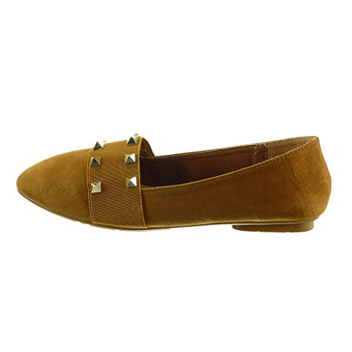 Angkorly - Chaussure Mode Mocassin slip-on femme clouté Talon bloc 1 CM Camel