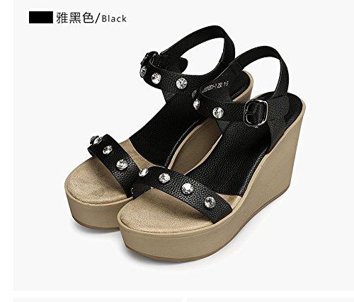 Xing Lin Sandales Pour Dames LÉté De Nouveaux Occasionnels Souliers À Talons Hauts Avec Des Chaussures Sandales Avec Freins black