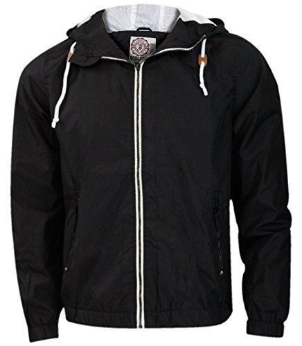 Nouveaux hommes Soul Star maille bordée été douche preuve Hooded veste Zip up manteau de pluie Black