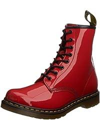 Dr Martens 1460 Rojo Patent 8 eyelets Mujeres Cuero Zapatos Botas