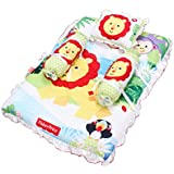 Fisher Price GS-01 Mattress Set With Pillow And 2 Bolsters (Multicolor)