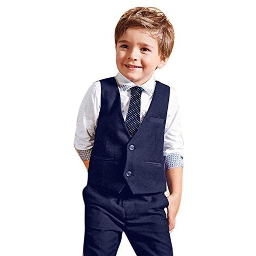 ochzeit Anzüge Shirts + Weste + Lange Hosen + Krawatte Kleidung by Dragon (Blau, 4T) (Anzug Für Kinder)