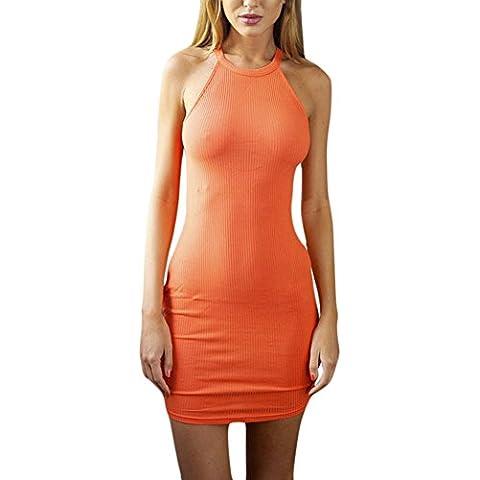 Nuovo da donna Sexy Club Partito Abiti euro-style sottile senza maniche mini vestito Halter collo vestito estivo o-collo Arancione 3Misure