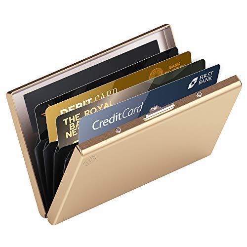 hochwertiges Edelstahl Kartenetui | Ideal als Kreditkarten & Visitenkarten Etuis, RFID Blocker, Kreditkartenetui, Slim Wallet, Visitenkartenetui, Mini Geldbörse | Card Genie Herren & Damen Etui Klein