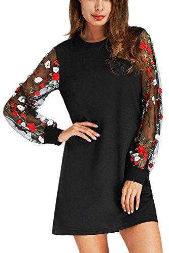 Frauen Elegant Scoop Hals Bestickt Mesh Reine Party Schicht Kleid Black L (Mesh-kleid Besticktes)