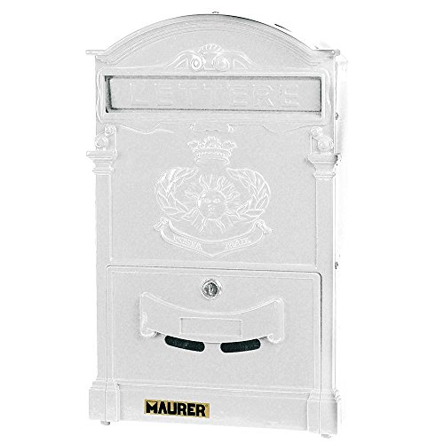 Maurer 3080615 - bianco casella di posta giardino in alluminio pressofuso