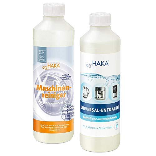 HAKA Set Maschinenliebe I Universalentkalker 500ml I Maschinenreiniger 500ml I Entkalker für Kaffeevollautomaten & Padmaschinen & Wasserkocher I Reiniger für Waschmaschinen + Spülmaschinen