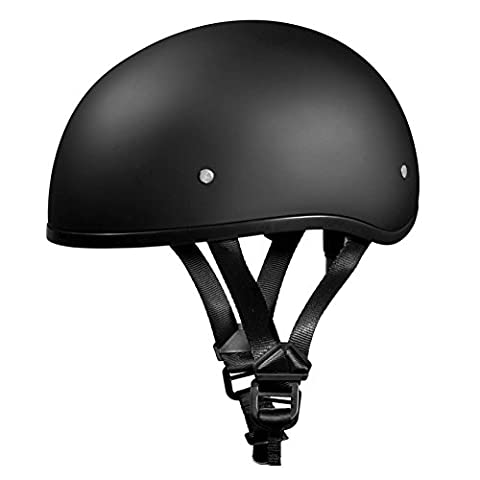 New!!! Slim Line Daytona Helmets *Skull Cap Style Motorcycle Helmet *Half (1/2) Shell Helmet-D.O.T. Approved, DULL BLACK, Smallest D.O.T. 1/2 Shell Helmet Ever Made! ***More Oval Than Round Helps Eliminate That Mushroom Look ***FREE Head Wrap And FREE Draw String Bag Included. No Worry, No Hassle Return Policy. (Small) by Daytona Helmets