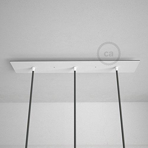 creative cables 3-Loch XXL Baldachin rechteckig, 60x12 cm, weiß, mit Befestigungszubehör