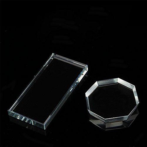 Glas Palette, Miji Kristallplatte Wimpernkleber Glas Halter für Wimpernverlängerung, Nagelkunst Zubehör, Make- up Platte, Rechteckig