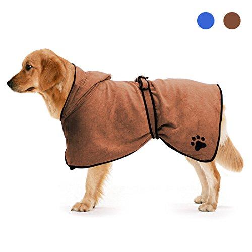 Zellar Accappatoio in Microfibra per Cani/Animale, con Cinture Regolabili in Cotone, asciugacapelli ad asciugamento rapido Veloce per Asciugamani e Asciugatura di umidificatore(Marrone, M)
