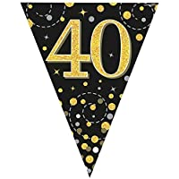 fashioncrazexx 40th Birthday Party Sparkling Bunting Black Gold Fizz Flag Banner Age 12FT 3.9m