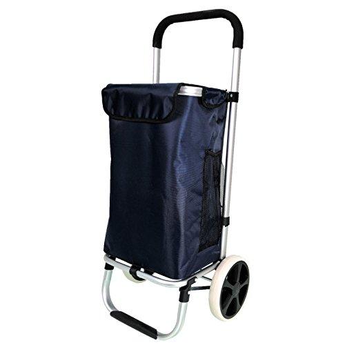 QTC ALU Einkaufstrolley Korb Trolley klappbar Einkaufstasche Einkaufswagen (Dunkelblau)