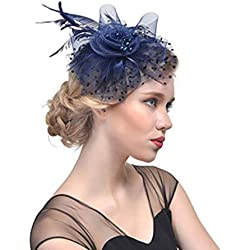 SYN Pinza para el pelo para mujer, con plumas artificiales, para fiesta, novia, moda, exquisita malla, flores, diademas vintage, tocado de boda, lunares, con cuentas elegantes