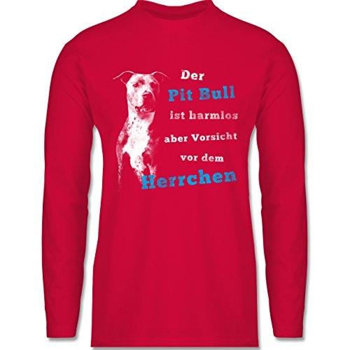 Hunde - Der Pit Bull ist harmlos aber Vorsicht vor dem Herrchen - Longsleeve / langärmeliges T-Shirt für Herren Rot