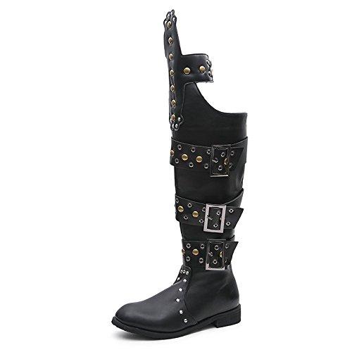 WZG Neue männliche Stiefel hohe Röhren Nieten Punk Rock Show Knie Stiefel Cowboy Stiefel Motorrad Stiefel Bühne Performance Stiefel , 38 , (Hohe Für Knie Männer Stiefel)