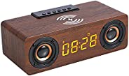 Bedside FM radio alarm clock, with USB charger, Bluetooth speakers, QI wireless charging