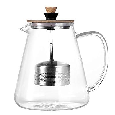 Tamume Théière en verre avec filtre amovible relevable Théière, idéal pour thé café