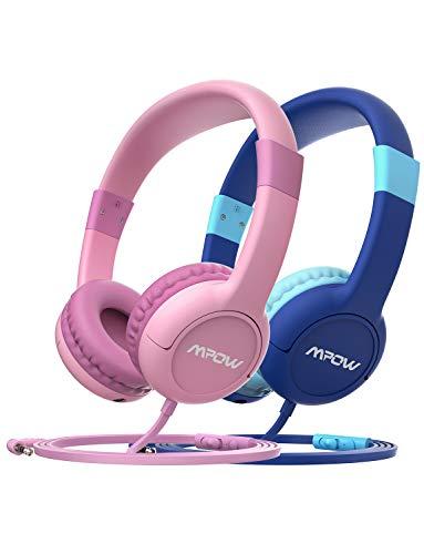 Mpow Kopfhörer Kinder CH1S 2 Stück Kopfhörer für Kinder mit Lautstärke- und Mikrofonsteuerung, 85dB Lautstärke Begrenzung Gehörschutz & Musik-Sharing, Material in sicherer Lebensmittelqualität -