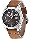 Timberland Men's Newmarket Quartz Watch with Brown Dial Analogue Display and Brown Leather Strap 13330XS/12