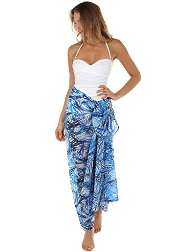 Seaspray 11-3006 Women's Fiji Blue and White Leaf Print Pareo One Size (Print-pareo)