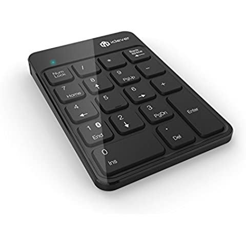 iClever IC-KP02 2.4G Keypad Numerico Wireless Ultra Slim con batteria agli Ioni di Litio integrata, Colore Nero